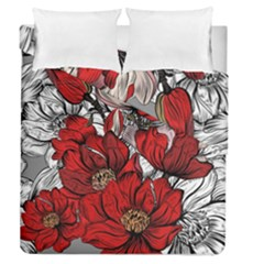 Red Flowers Pattern Duvet Cover Double Side (queen Size)