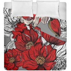 Red Flowers Pattern Duvet Cover Double Side (king Size)