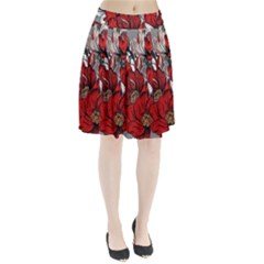 Red Flowers Pattern Pleated Skirt