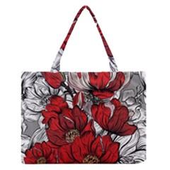 Red Flowers Pattern Medium Zipper Tote Bag