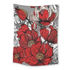 Red Flowers Pattern Medium Tapestry