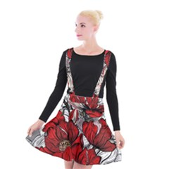 Red Flowers Pattern Suspender Skater Skirt