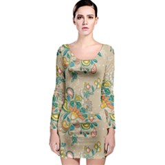 Hand Drawn Batik Floral Pattern Long Sleeve Bodycon Dress
