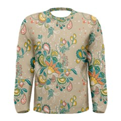 Hand Drawn Batik Floral Pattern Men s Long Sleeve Tee