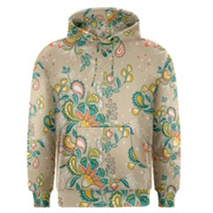 Hand Drawn Batik Floral Pattern Men s Pullover Hoodie