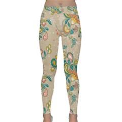 Hand Drawn Batik Floral Pattern Classic Yoga Leggings