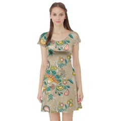 Hand Drawn Batik Floral Pattern Short Sleeve Skater Dress