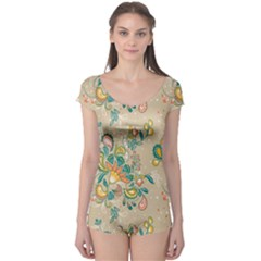 Hand Drawn Batik Floral Pattern Boyleg Leotard