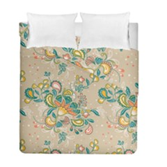 Hand Drawn Batik Floral Pattern Duvet Cover Double Side (full/ Double Size)