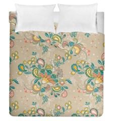 Hand Drawn Batik Floral Pattern Duvet Cover Double Side (queen Size)