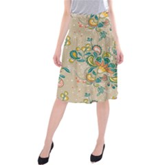 Hand Drawn Batik Floral Pattern Midi Beach Skirt