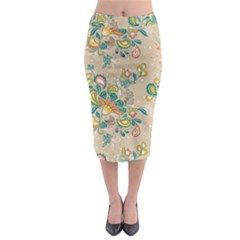 Hand Drawn Batik Floral Pattern Midi Pencil Skirt