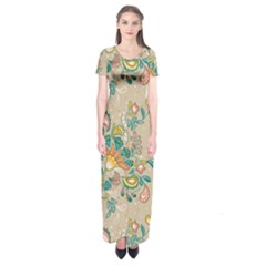 Hand Drawn Batik Floral Pattern Short Sleeve Maxi Dress