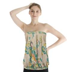Hand Drawn Batik Floral Pattern Strapless Top