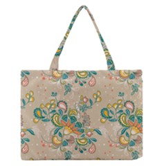 Hand Drawn Batik Floral Pattern Medium Zipper Tote Bag