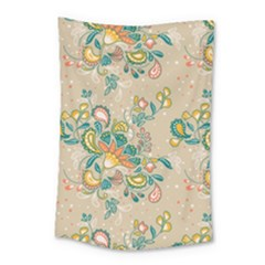 Hand Drawn Batik Floral Pattern Small Tapestry