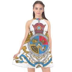 Sovereign Coat Of Arms Of Iran (order Of Pahlavi), 1932 1979 Halter Neckline Chiffon Dress