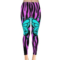 Zebra Stripes Black Pink   Butterfly Turquoise Leggings