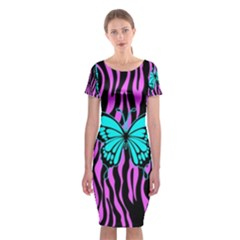 Zebra Stripes Black Pink   Butterfly Turquoise Classic Short Sleeve Midi Dress