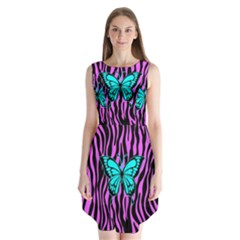 Zebra Stripes Black Pink   Butterfly Turquoise Sleeveless Chiffon Dress