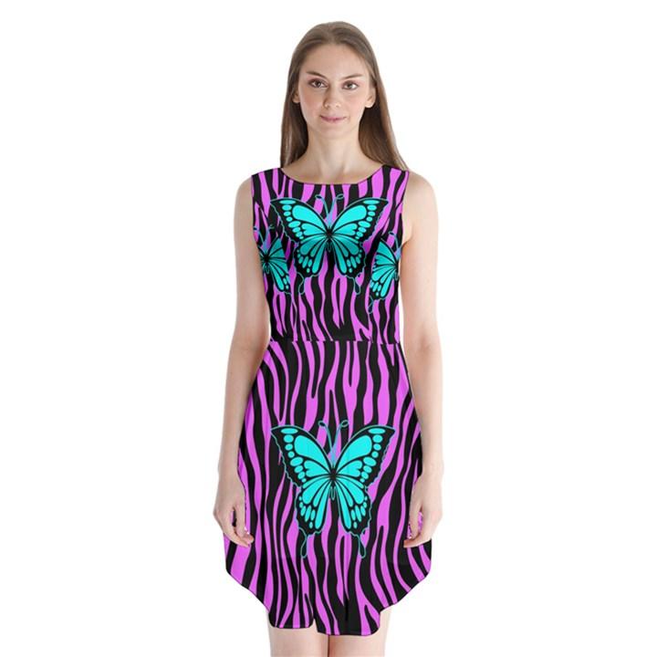 Zebra Stripes Black Pink   Butterfly Turquoise Sleeveless Chiffon Dress