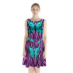 Zebra Stripes Black Pink   Butterfly Turquoise Sleeveless Chiffon Waist Tie Dress