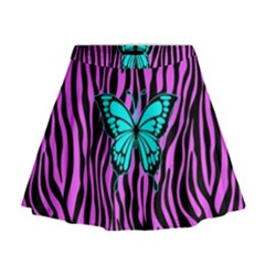 Zebra Stripes Black Pink   Butterfly Turquoise Mini Flare Skirt