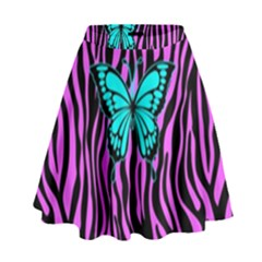 Zebra Stripes Black Pink   Butterfly Turquoise High Waist Skirt