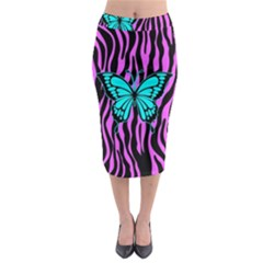 Zebra Stripes Black Pink   Butterfly Turquoise Midi Pencil Skirt