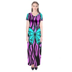 Zebra Stripes Black Pink   Butterfly Turquoise Short Sleeve Maxi Dress