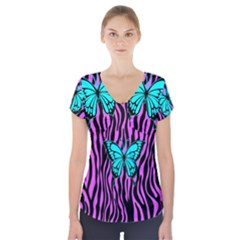 Zebra Stripes Black Pink   Butterfly Turquoise Short Sleeve Front Detail Top