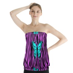 Zebra Stripes Black Pink   Butterfly Turquoise Strapless Top