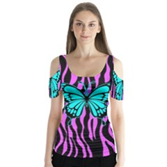 Zebra Stripes Black Pink   Butterfly Turquoise Butterfly Sleeve Cutout Tee