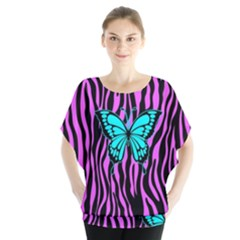 Zebra Stripes Black Pink   Butterfly Turquoise Blouse