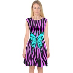 Zebra Stripes Black Pink   Butterfly Turquoise Capsleeve Midi Dress