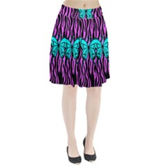 Zebra Stripes Black Pink   Butterfly Turquoise Pleated Skirt