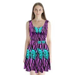 Zebra Stripes Black Pink   Butterfly Turquoise Split Back Mini Dress