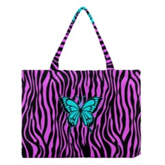 Zebra Stripes Black Pink   Butterfly Turquoise Medium Tote Bag