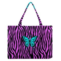 Zebra Stripes Black Pink   Butterfly Turquoise Medium Zipper Tote Bag