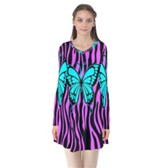 Zebra Stripes Black Pink   Butterfly Turquoise Flare Dress