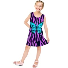 Zebra Stripes Black Pink   Butterfly Turquoise Kids  Tunic Dress