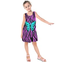 Zebra Stripes Black Pink   Butterfly Turquoise Kids  Sleeveless Dress