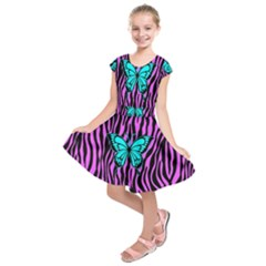 Zebra Stripes Black Pink   Butterfly Turquoise Kids  Short Sleeve Dress