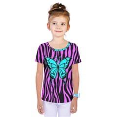 Zebra Stripes Black Pink   Butterfly Turquoise Kids  One Piece Tee