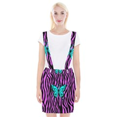 Zebra Stripes Black Pink   Butterfly Turquoise Braces Suspender Skirt