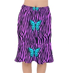 Zebra Stripes Black Pink   Butterfly Turquoise Mermaid Skirt