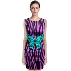 Zebra Stripes Black Pink   Butterfly Turquoise Sleeveless Velvet Midi Dress