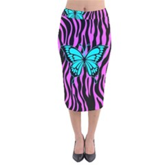 Zebra Stripes Black Pink   Butterfly Turquoise Velvet Midi Pencil Skirt