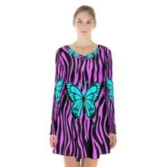Zebra Stripes Black Pink   Butterfly Turquoise Long Sleeve Velvet V Neck Dress