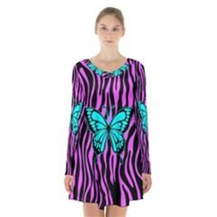 Zebra Stripes Black Pink   Butterfly Turquoise Long Sleeve Velvet V Neck Dress
